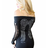"Women's ""Cut-Out Angel Wing"" Graphic Dress by Rodeo Fox (Black)"