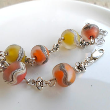Glass Sterling Bracelet, Handmade Jewelry, Floral Sterling Chain Bracelet, Lampwork Pastel Christmas jewelry for Her