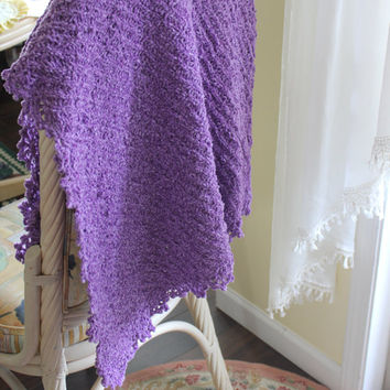Lilac Knit Baby Girl Blanket crochet edge, Shower Gift Photo Prop Throw Blanket Car seat cover/Stroller blanket travel blanket Crib Nursery