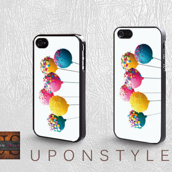 Phone Cases, iPhone 5 Case, iPhone 5s Case, iPhone 4 Case, iPhone 4s case, Vanilla Rainbow Cake Pops, Case for iphone, Case No-568