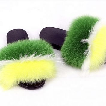 Patty fox fur slides green fur slides yellow fur slippers white fox fur slippers genuine womens fur slipons