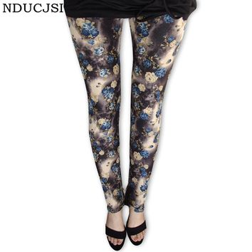 Vintage Trousers Women Leggings Colorful Flower Printed Leggins Slim Pants Cotton Mid Sexy Elastic Rose A Variety Of Styles