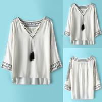 White Sleeve Pleated Self-tie Blouse