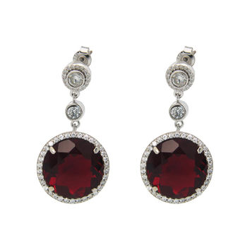 Rhodium Plated Sterling Silver Round Dark Ruby Red Cubic Zirconia Drop Earrings