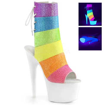 "Adore 1018RBG  Rainbow Glitter Ankle Boot - White 7"" High Heel Boots"