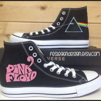 VONR3I Pink Floyd 'DSoM' Custom Converse / Painted Shoes