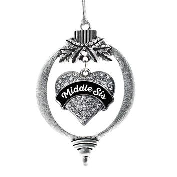 Black and White Middle Sister Pave Heart Charm Holiday Ornament