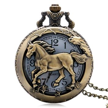 Chinese Horse Zodiac Pocket Watch Hollow Animal Carving Slim Necklace Oriental Fashion Pendant Clock Creative Gifts for Birthday