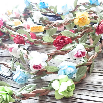WHOLESALE: Flower Crown, 10 Flower crown headbands, Floral wrap Boho flower headband flower rose festival flower hair band, wedding headband