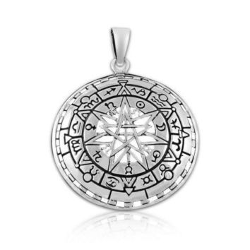 Sterling Silver Zodiac Wheel Horoscope Pentacle Pentagram Pagan Wiccan Pendant