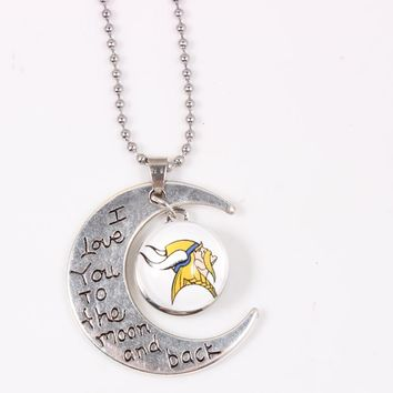 Minnesota Vikings USA Football Time Gem Pendant Necklace With 50cm Chains For Women Long Necklace Jewelry 10pcs/lot