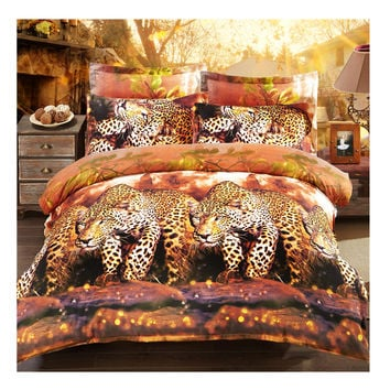 3D Active Printing Bed Quilt Duvet Sheet Cover 4PC Set Upscale Cotton L Size 010