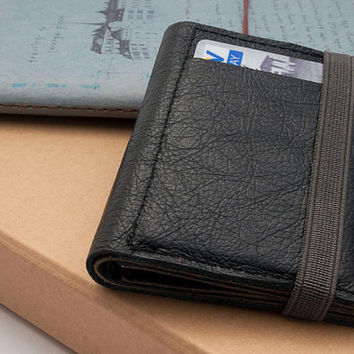 BLACK, Leather Wallet, Small Wallet, Brown Leather Purse, Made Of Up Cycled Leather, Handmade Wallet With Gray Elastic Band