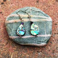 Abalone drop earring with crystal
