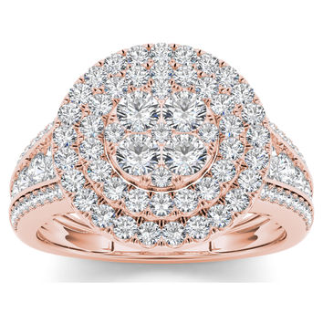 De Couer 10k Rose Gold 1 1/2ct TDW Diamond Double Halo Ring (H-I, I2) | Overstock.com Shopping - The Best Deals on Diamond Rings