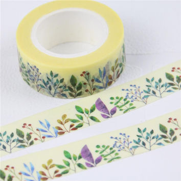 1 Pc / Pack Beautiful Grass Plant Flower Washi Paper Masking Tapes Diy Floral Decorative Stickers Gift Wrapping Sticker