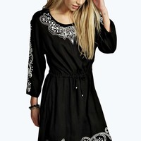 Lorraine Embroidered Drawstring Dress