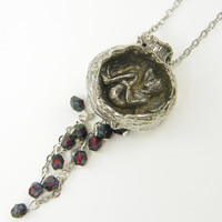 Pomegranate Pendant Necklace Antique Silver with Fairy and Garnet Bead Tassel