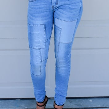 Rooftop Party Patch Work Skinny Jeans