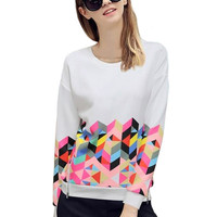 White Geometric Pattern Print Side Zip Sweatshirt