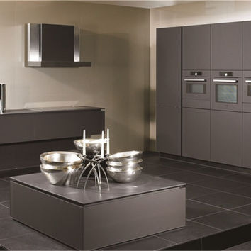 L-shaped grey lacquer kitchen cabinet
