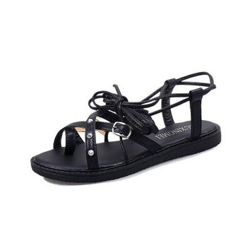 Strappy Bandage Rivet Buckle Lace Up Flat Roman Style Sandals Campagus