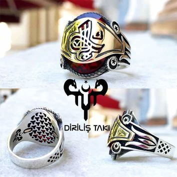 Red zirconia stone with ottoman sultan sign sterling silver ring