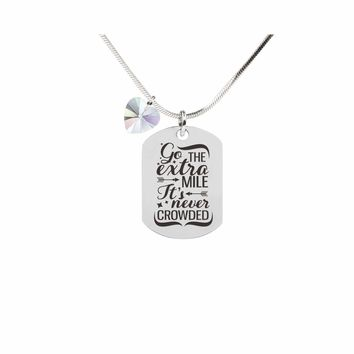 Inspirational Tag Necklace In AB Made With Crystals From Swarovski  - EXTRA MILE