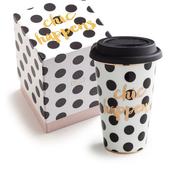 Chic Happens Porcelain and Gold Travel Mug