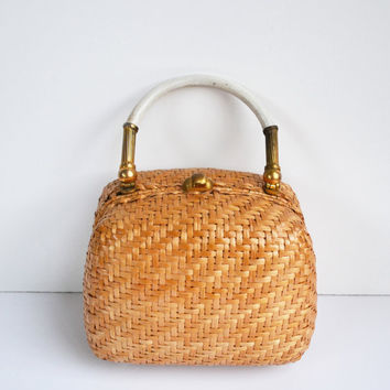 Vintage Koret Wicker Bag Made in Italy 1950s Koret Wicker Box Purse Summer Handbag