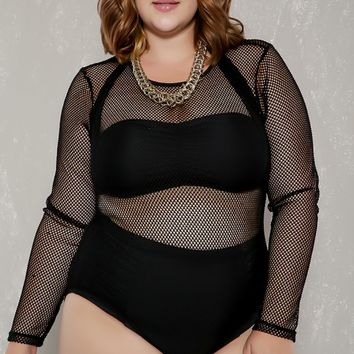 Sexy Black Netted Long Sleeve Plus Size Bodysuit