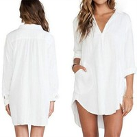Summer Fashion White Long Sleeve Loose Street Dress