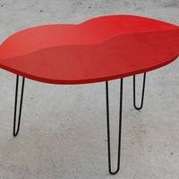 LIPS TABLE Handmade Coffee Table / Red Side Table / Bedside Table / Nighstand / Hairpin Legs POP Art Surreal Furniture / Marilyn Monroe