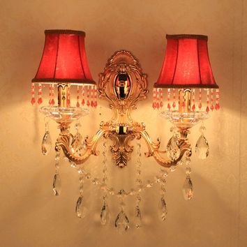 2 lights vintage Wall Lamp sconce Bedroom Restaurant goldcandle led wall Lights fabric shade Indoor Lighting wall lamps bathroom