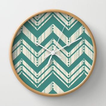 Weathered Chevron Wall Clock by Heather Dutton | Society6