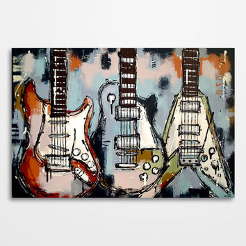 Guitar painting Music art Les Paul Modern Guitar wall art Gift for musician Original colorful abstract guitar painting on canvas