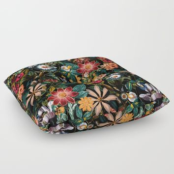 NIGHT-GARDEN-XXIV Floor Pillow by Burcu Korkmazyurek