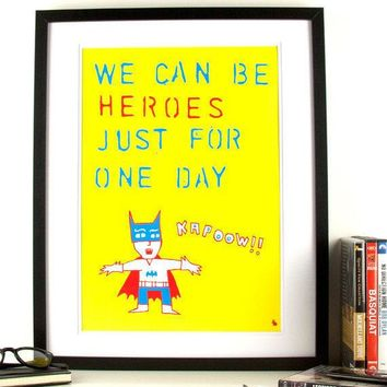 Poster Print Pop Art Typography Music David Bowie Batman By Kyd13