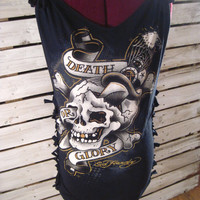 Upcycled Ed Hardy T-shirt, Cut and Tied, Size Small.  Death or Glory. Very Cool Tshirt!