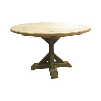 Round Counter Height Trestle Table