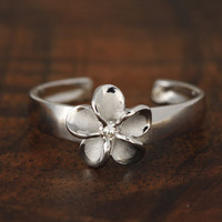 Hawaiian 925 Sterling Silver Plumeria CZ Toe Ring Rhodium Finished
