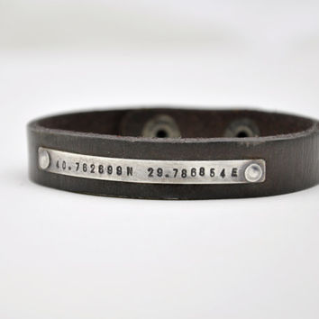 Personalized Hand Stamped Custom Latitude and Longitude Coordinates Bracelet - Sterling Silver ID Bar - Brown, Black or Red Leather Cuff