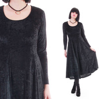 90s Vintage Crushed Velvet Black Maxi Dress Witchy Goth Clothing Womens Size Small Medium