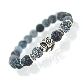 Owl Natural Stone Beads Bracelet & Bangle