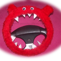 Fuzzy Monster Roar Red steering wheel cover faux fur fluffy furry car truck van jeep cute googly eyes teeth dragon truck suv fun van