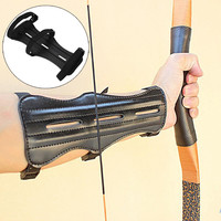 Leather 3 Strap Target Archery Arm Guard Safety Protection Gear Outdoor Hunting