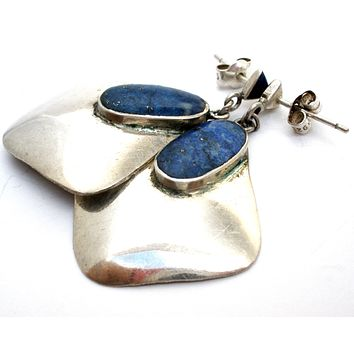 Lapis Earrings in Sterling Silver Vintage