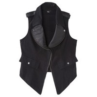 Mossimo® Women's Faux Leather Trim Moto Vest - Black