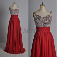 Custom Red Beaded Long Bridesmaid Dresses 2014 Prom Dresses Fashion Evening Dresses Party Dress Evening Gowns Homecoming Dresses