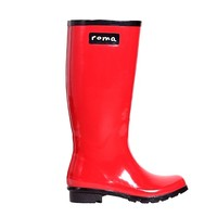 Roma Boots Glossy Red Rain Boots